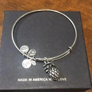 Alex and Ani Silver Pineapple Charm Bracelet.